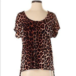 Lucky Brand Leopard Print Velour Oversized Tee Lg